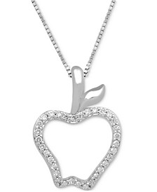 "Diamond Apple Pendant Necklace (1/10 ct. t.w.) in Sterling Silver, 17"" + 2"" extender"