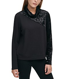 Sport Mixed-Media Turtleneck Top