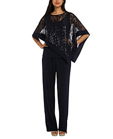Sequined Capelet Two Piece Pant Set