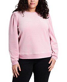 Trendy Plus Size Puff-Sleeve Velour Top