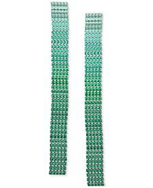 Silver-Tone Ombre Rhinestone Linear Earrings