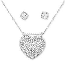 "Crystal Stud Earrings & Pavé Heart Pendant Necklace, 18"" + 3"" extender"