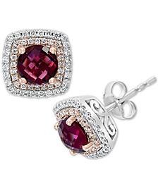 EFFY® Rhodolite (2-1/2 ct. t.w.) & Diamond (1/3 ct. t.w.) Stud Earrings in 14k Rose Gold & White Gold