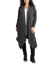 Women's Plus Size Drape Front Long Cardigan
