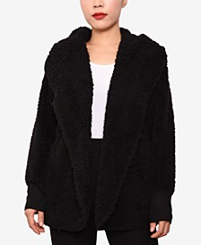 Juniors' Faux-Sherpa Hooded Cardigan