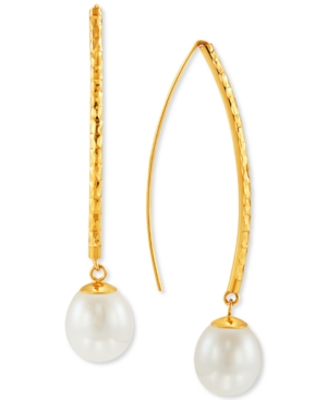 Cultured Freshwater Pearl (9-10mm) Threader Earrings in 14k Gold