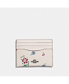 Wildflower Print Flat Leather Card Case