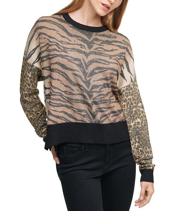 DKNY Mixed Animal-Print Sweater
