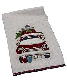 "Holiday Truck Textured Linen Runner, 16"" X 72"""