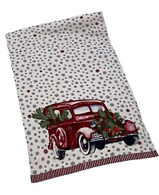 "All-over Snowflake Printed Red Car Runner, 16"" X 72"""