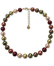 "Gold-Tone Multicolor Imitation Pearl Collar Necklace, 17"" + 2"" extender, Created for Macy's"