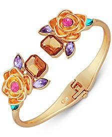 Gold-Tone Stone & Flower Hinged Bangle Bracelet