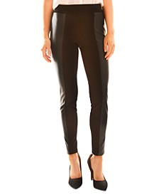 Juniors' Faux-Leather Ponté-Knit Leggings