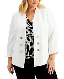 Plus Size Crepe Faux-Double-Breasted Blazer