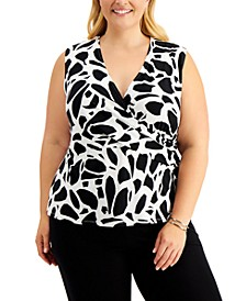 Plus Size Printed Faux-Wrap Top
