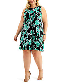 Kasper Plus Size Sleeveless Printed Swing Dress