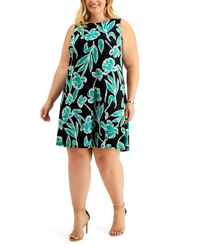 Kasper - Plus Size Sleeveless Printed Swing Dress
