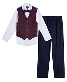 Toddler Boys Plaid 4 Piece Vest Set