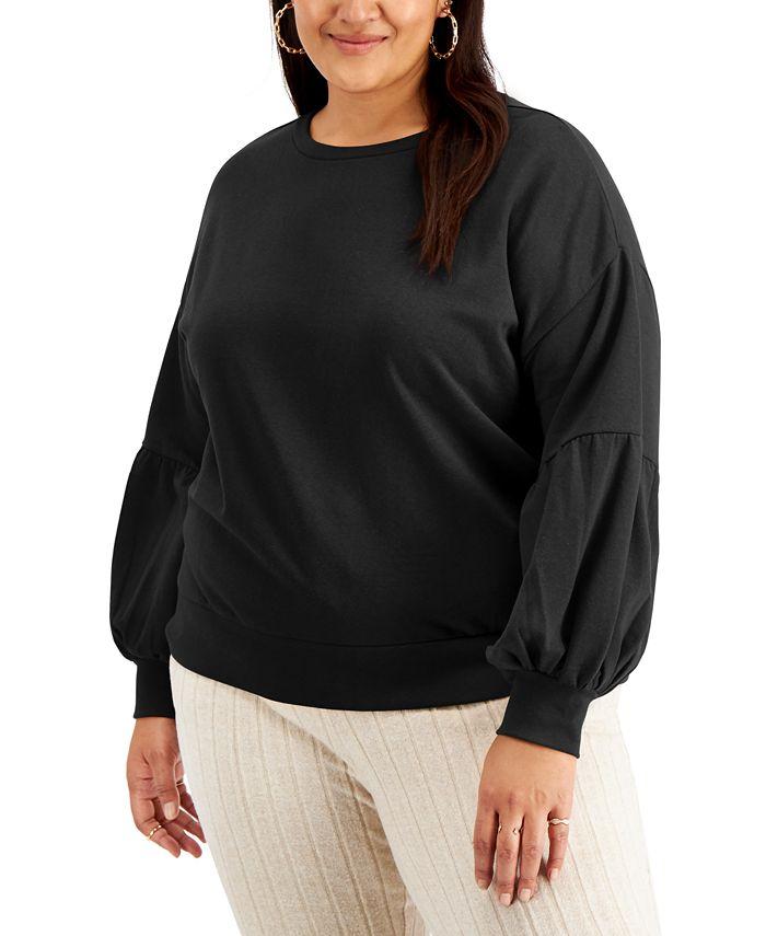 FULL CIRCLE TRENDS - Trendy Plus Size Puff-Sleeve Sweatshirt