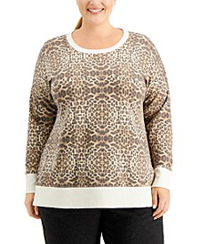 Plus Size Leopard-Print Sweatshirt, Created for Macy's