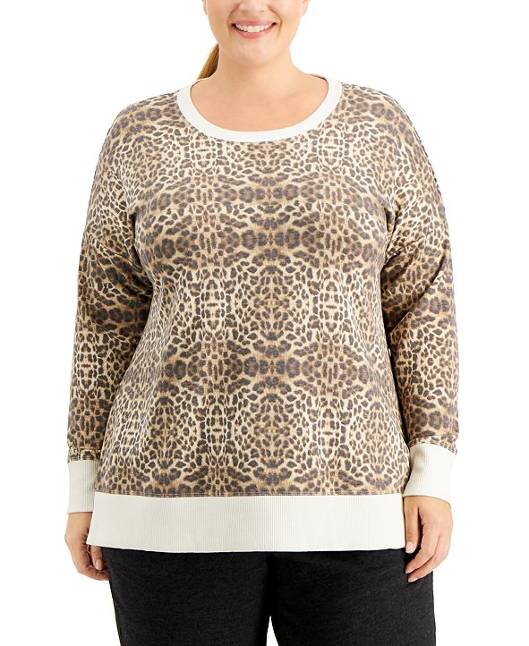 Ideology Plus Size Leopard-Print Sweatshirt, Created for Macy's
