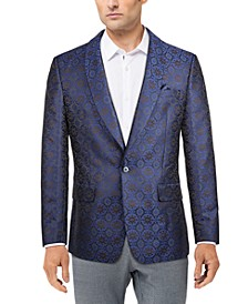 Men's Navy Jacquard Slim Fit Dinner Jacket