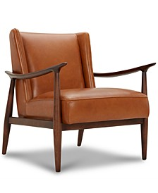 Jollene Leather Winged Accent Chair, Created for Macy's