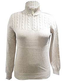Petite Mock-Neck Zip-Up Sweater, Created for Macy's