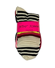 Stripe and Solid Crew Sock, 6 Pack