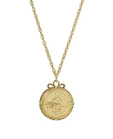 Women's Gold Tone August Flower of the Month Gladiolus Necklace