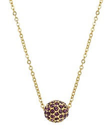 Women's Gold Tone Multi Purple Crystal Spinning Ball Drop Necklace