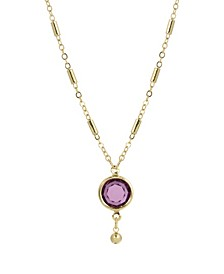 Women's Gold Tone Purple Channel Drop Y Necklace