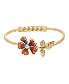 Women's Gold Tone Orange Enamel Flower and Crystal Accent Spring Hinge Cuff Bracelet