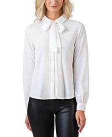 Black Label Women's Plus Size Tie-Neck Collared Button down Knit Top
