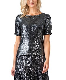 Black Label Women's Plus Size All-over Sequined Puff Sleeve Top