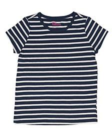 Toddler Girls Short Sleeve Striped Basic Tee