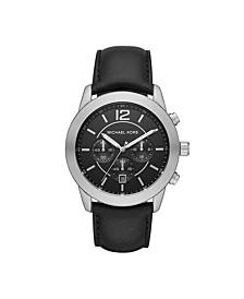 Men's Merrick Chronograph Black Leather Watch 45mm