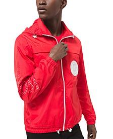 Men's Regular-Fit Mesh Pieced Packable Hooded Jacket