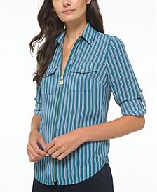 Zippered Striped Shirt