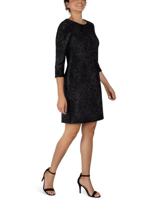 Julia jordan 3/4-Sleeve Shiny Textured Velvet Sheath Dress & Reviews - Dresses - Women - Macy's