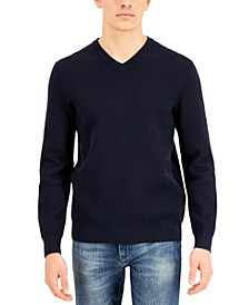 Men's Textured V-Neck Sweater