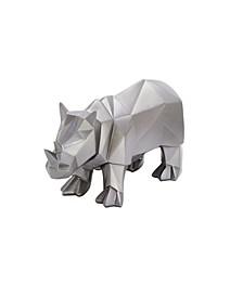 Large Modern Style Metallic Rhino Statue Table Decor