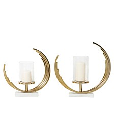 Contemporary Crescent Metal Candle Holders with Marble Bases, Set of 2