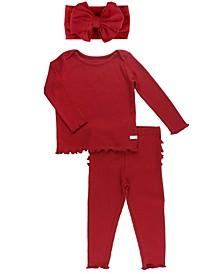 Baby Girls Long Sleeve Ruffled 2 Piece Pajama and Bow Set