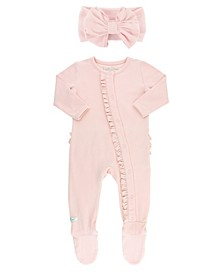 Baby Girls Long Sleeve Ruffle Footed 1 Piece Pajama and Bow Set