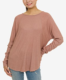 Juniors' Cozy Lattice-Back Dolman-Sleeve Top