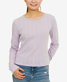 Juniors' Pointelle-Knit Top
