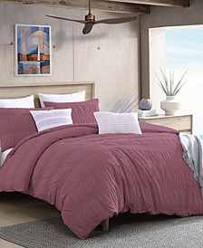 Lush Moselle Cotton Ruched Waffle Weave 3 Piece Duvet Cover Set, California King