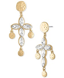 Gold-Tone Hammered Coin & Crystal Cross Drop Earrings