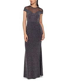 Illusion Glitter-Knit Gown